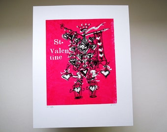 medieval robot, romantic screenprint, magenta and black: ST. VALENTINE by Kathryn DiLego