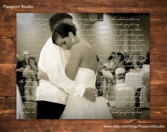 CUSTOM PRINTABLE: Wedding First Dance Photo With Song Lyrics (Customizable)