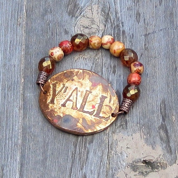 Y'All Southern Saying Stretch Bracelet in Copper Colors by SassyBelleWares