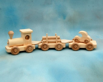 Toy Train - Wood Train - Wood Train Engine - 3 Car Train - Natural Wood Toy Train - Handcrafted Train Set - No Engineer in Cab as Pictured