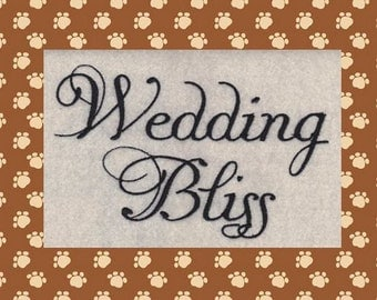 Wedding Bliss Machine Embroidery Font in 3 Sizes