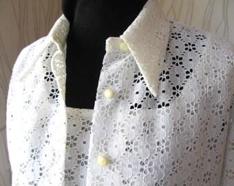 Vintage White Eyelet Blouse with Matching Camisole