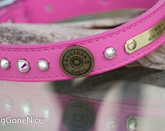 Pink 12 Guage Shotgun Shell Dog Collar, 12 Guage Dog Collar, Concho Crystal Dog Collar, 12 Guage Leather Dog Collar, Pink Leather Dog Collar