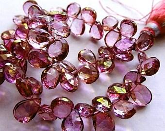 SALE - Mystic Pink Quartz Gemstone. Faceted Pear Briolette, 9-10mm. Semi Precious Gemstone. Packet of 2. (dqz6). WAS 5.90... Last Ones