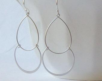 Silver Dangle Earrings, Multi Hoop Earrings