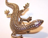 Vintage GOLD TONE & Red Rhinestone Lizard or Salamander Pin/Brooch