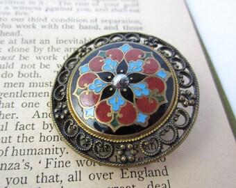 antique button enamel gothic blue red