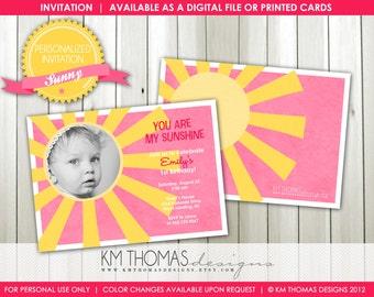 SUNNY...Custom Birthday Photo Invitation...by KM Thomas Designs Item 116