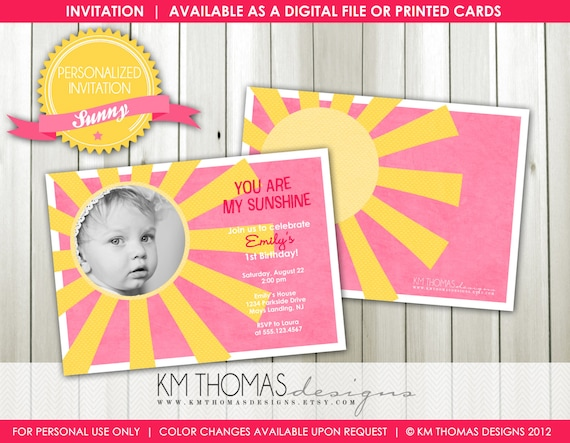 SUNNY...Custom Birthday Photo Invitation...by KM Thomas Designs Item 116