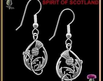 Spirit Of Scotland Thistle Earrings - Sterling Silver