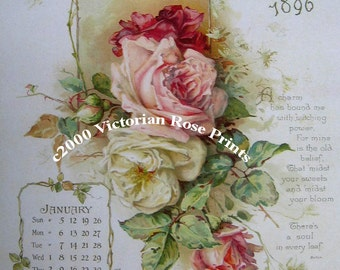 French Pink Cabbage Roses Print The Floral Year Calendar Panel Half Yard Long Catherine Klein