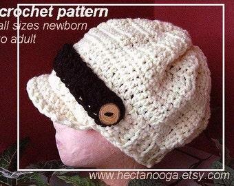 175, Crochet Pattern, hat, NEWBORN TO ADULT sizes., Stylish Newsboy ,  instant digital download