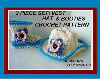 crochet pattern, booties slippers, num. 550, newborn to 12 months, cowboy boots, vest, hat