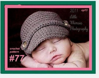 Hat Patterns,  Hat Crochet Pattern Hat  num. 77 NEWSBOY VISOR CAP,  newborn to adult. sell your finished hats, instant digital download, br