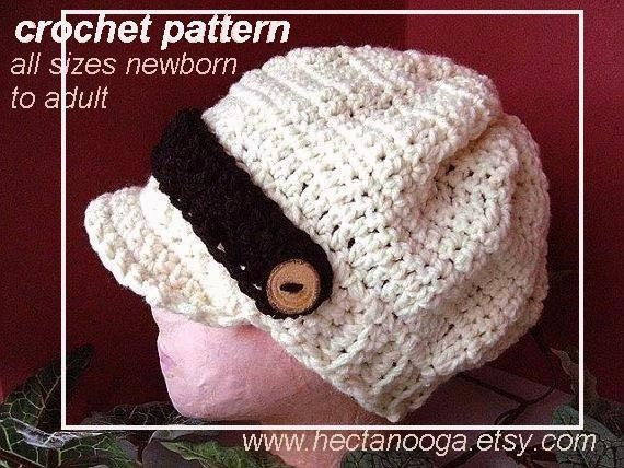 175, Crochet Pattern, hat, NEWBORN TO ADULT sizes., Stylish Newsboy ,  instant digital download