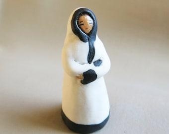 Figurine White and Black Lady Ceramic Miniature Sculpture Jizo Folk Art Goddess