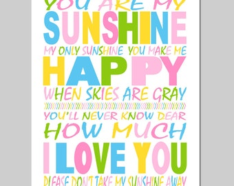 You Are My Sunshine, My Only Sunshine Nursery Decor Modern Nursery Art Print - 11x14 - Kids Wall Art - CHOOSE YOUR COLORS
