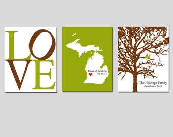 Modern Newlywed Trio - Set of Three 5x7 Customizable Prints - Love, Family Established Bird Tree, State Home Map - GREAT WEDDING GIFT