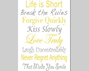 life rules 11x17 print inspirational quotes and