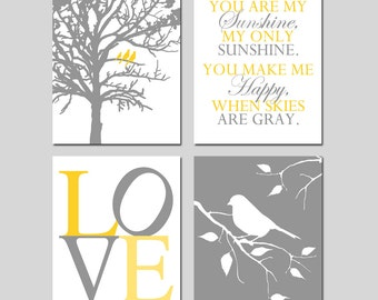 Yellow Gray Grey Nursery Art - Birds in a Tree, You Are My Sunshine, Love, Bird on a Branch - Set of Four 8x10 Prints - CHOOSE YOUR COLORS