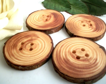 Big Wooden Buttons - 4 Michigan Red Pine Tree Branch Buttons 2 3/4 Inches for Knitting, Fiber or Crochet projects