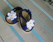 Shoes Baby Crochet Handmade Sandals Daisy Infant Kids - Navy Blue with Daisy