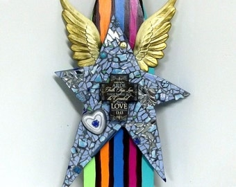 HUGE Star Stripes Wings Assemblage - BOHO Folk art Cross - Faith Hope Love upcycled