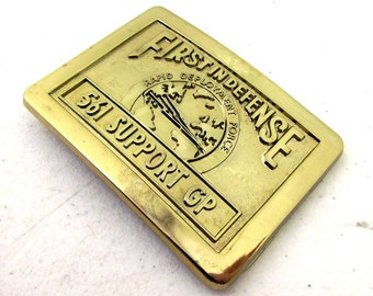 Military Belt Buckle - Rapid Deployment Force - First In Defense - gold colored - 561 Support GP