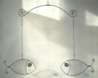 Fish Mobile Wire Art Sculpture