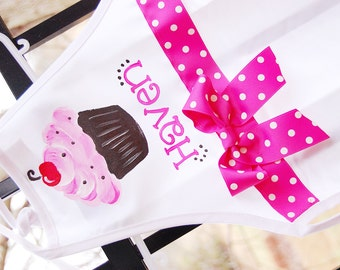 Personalized cupcake apron, big kid apron, cupcake and bow, size 6 years to adult small, kids apron with cupcake, baking apron