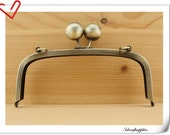 NEW  7 1/2 inch  Big Empty  bobble Brushed anti bronze  purse frame  (with loops) K500