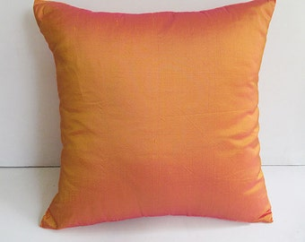 Tangerine orange  pillow  orange  Dupioni silk decorative pillow cover. Orange Raw silk cushion cover made to order 18 inch