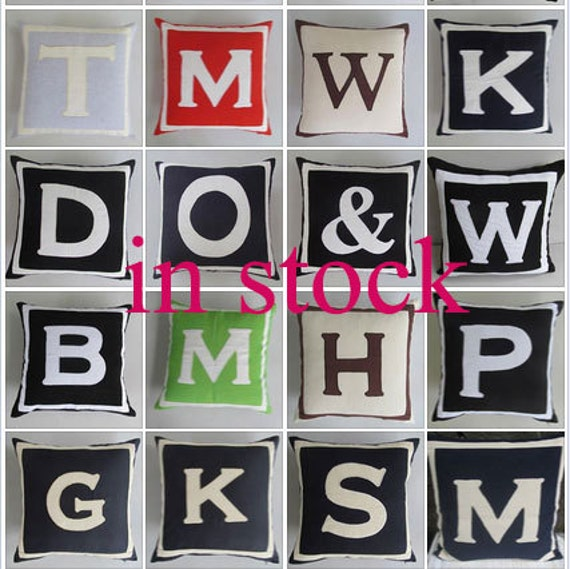 monogram pillows alphabet initial pillows in stock 14 inch to 18 inches. ON SALE