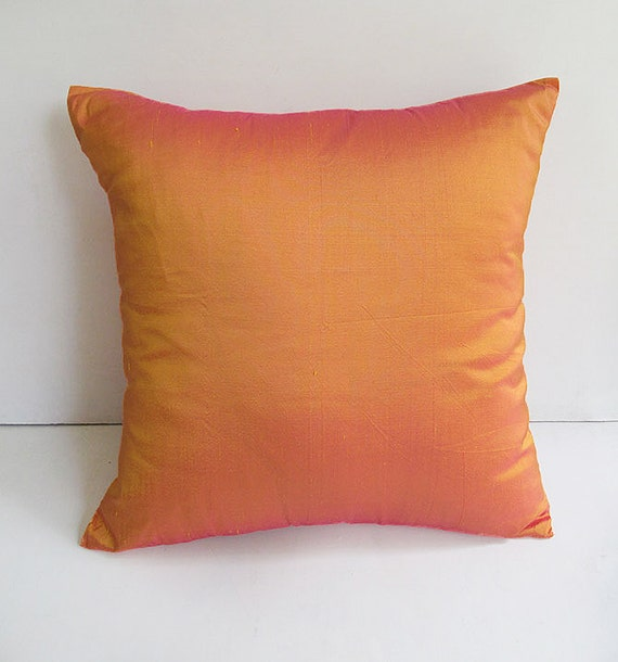 Tangerine Orange Dupioni Silk Pillow Orange Decorative Pillow