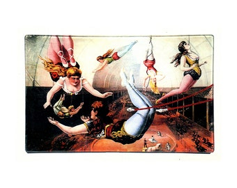 Trapeze Ladies decoupage glass tray