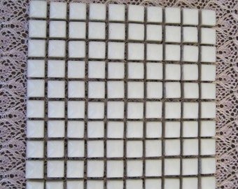 Pure White Ceramic Tiles for Mosaics 3/8 Inch (10mm) Square Set of 100 Pure White Ceramic Square Tiles
