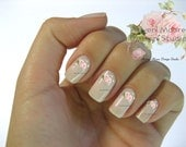 Shabby Very Chic Pale Pink Roses Spray Nail Art Waterslide Miniature Water Decals - fw-047