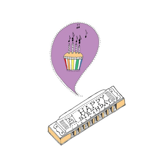 Harmonica Birthday Card by rachelink on Etsy
