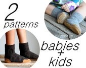 Wool Slipper Pattern for Baby & Kids, Instant Download, Baby sizes 0-12, 6-18, 12-24 months, Kids size 7.5, 9.5, 11.5, 13, 2.5