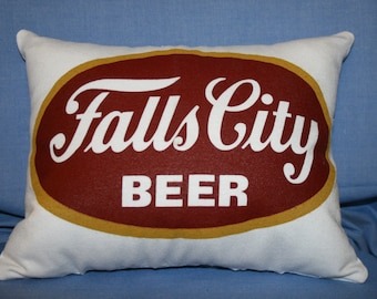 Decorative Pillow, Sofa Pillow, Couch Pillow, Accent Pillow, Bed Pillow, Decorative Throw Pillow, Falls City Beer, White Pillow