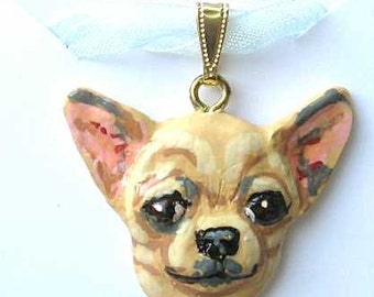 Dog Breed CHIHUAHUA Handpainted Clay Necklace/Pendant Artist Painted