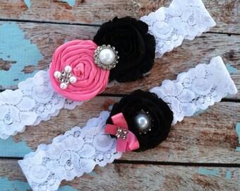 Garter/ hot pink rosette / black chiffon / wedding garter / bridal  garter/  lace garter / toss garter /wedding garter