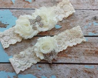 IVORY chiffon - BOW rhinestone center / wedding garter set / bridal  garter/  lace garter / toss garter included /  wedding garter