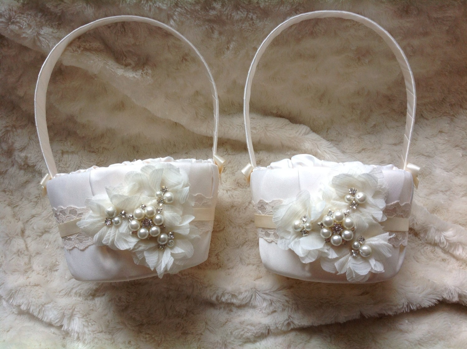 Two Flower girl baskets / ivory or white / by ...
