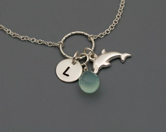 Personalized Ocean Necklace in Sterling Silver - Sea Necklace - Beach Necklace - Chalcedony, Doplhin, Initial