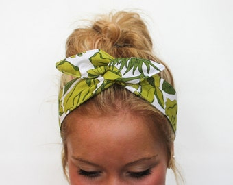 Dolly Bow, Rockabilly Wire Headband Pin Up 50s Hair, Vintage Inspired Green Floral, Girl Teen Woman