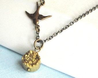Gold Druzy Necklace - Titanium Druzy, Brass Bird