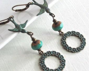 Bird Hoop Earrings - Flower, Czech Glass, Brass, Patina