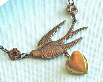 Brass Heart Locket Bird Necklace - Bird Jewelry, Keepsake, Photo Locket