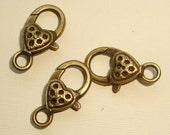Fancy Antique Brass lobster clasp FIVE ( 5 )  with heart detail clasps Low shipping   25mm x 14 mm